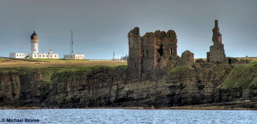 Noss Head with Castle Sinclair Girnigoe - photo by Michael Beales